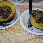 Acorn Squash stuffed with mushrooms and onions